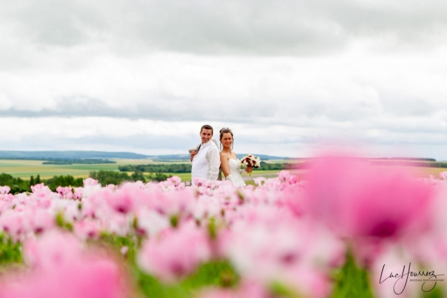 mariés dans un champ de pavot
