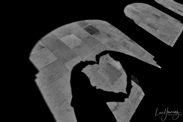 ombre des mariés en forme de coeur