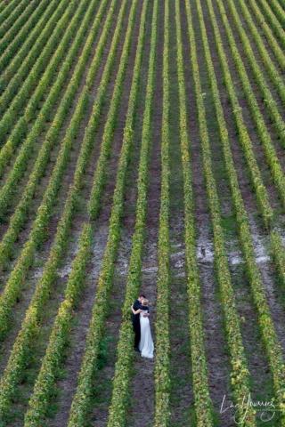 photo de couple mariage dans les vignes dans l'Aube