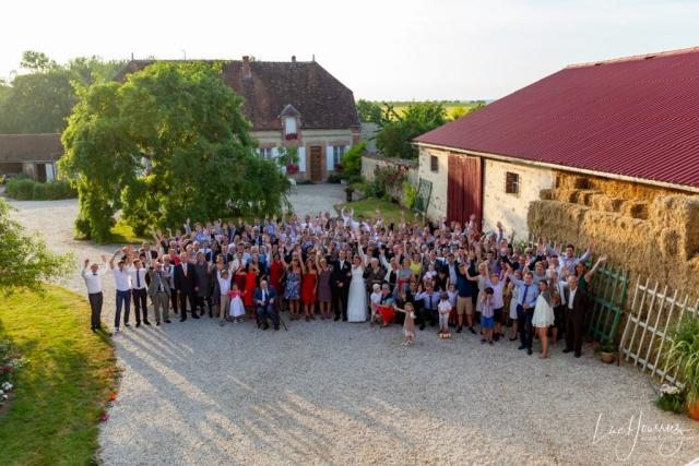 photo de groupe mariage prise du ciel